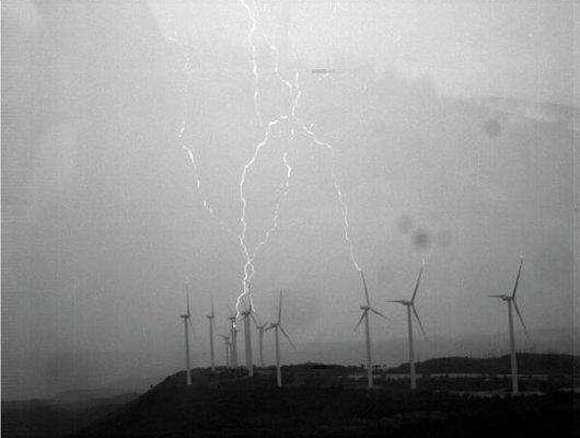 Rayos en aerogeneradores